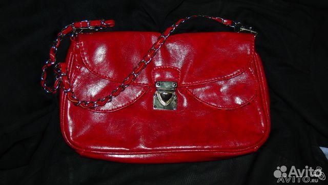 Клатч, сумка-кошелек, красный цвет Недорогая женская или