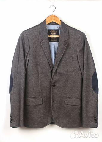 Пиджак мужской серый с синими заплатками на локтях купить в Москве ... 1a567b81517