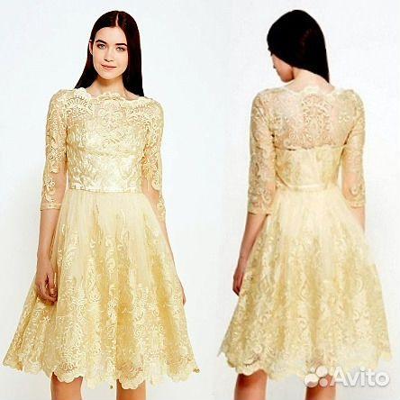 12b9d335453 Шикарное коктейльное золотое расшитое платье 46-50