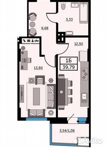 1-к квартира, 39.6 м², 19/26 эт. купить 1