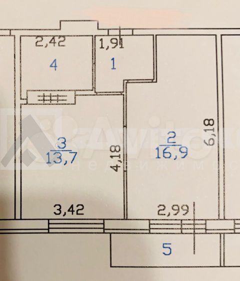 1-к квартира, 40 м², 13/17 эт.  88129211703 купить 6