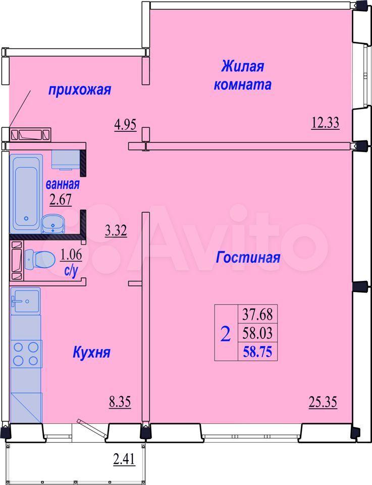 2-к квартира, 58.8 м², 1/10 эт.