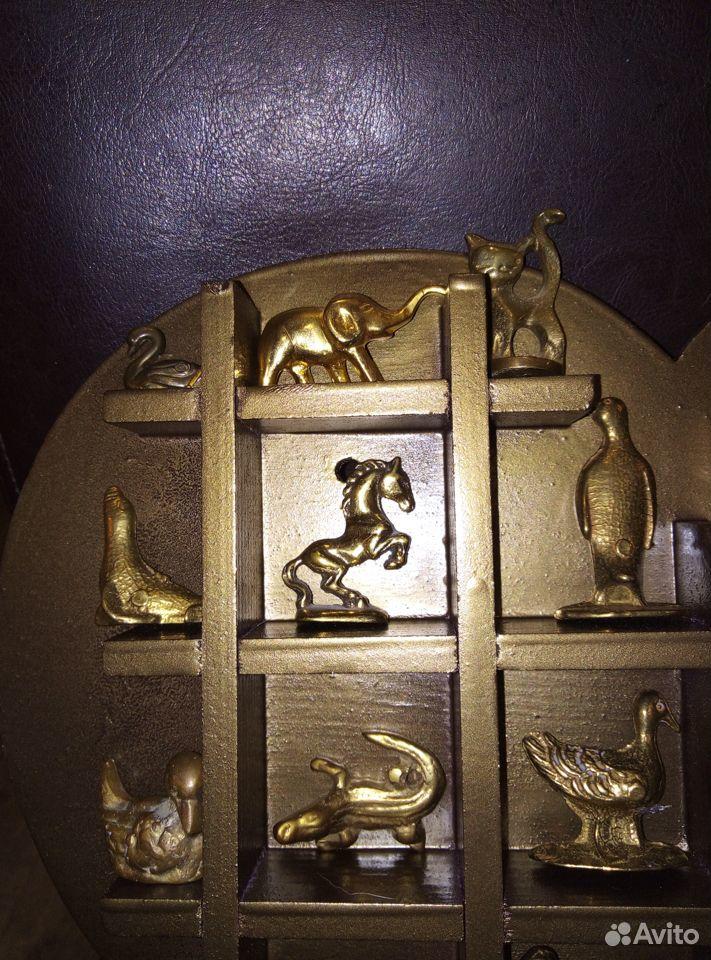 Коллекция миниатюр Латунь Животные Полочка дерево  89107480901 купить 2
